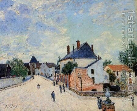 Street in Moret(Porte de Bourgogne from across the Bridge) by Alfred Sisley - Reproduction Oil Painting