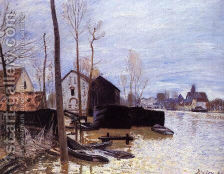 Flooding at Moret by Alfred Sisley - Reproduction Oil Painting