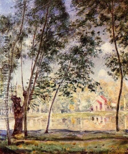Sunny Afternoon - Willows by the Loing by Alfred Sisley - Reproduction Oil Painting
