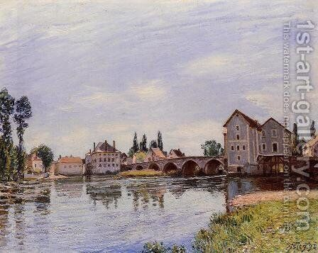 The Loing Flowing under the Moret Bridge by Alfred Sisley - Reproduction Oil Painting