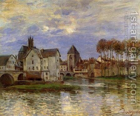 The Moret Bridge at Sunset by Alfred Sisley - Reproduction Oil Painting