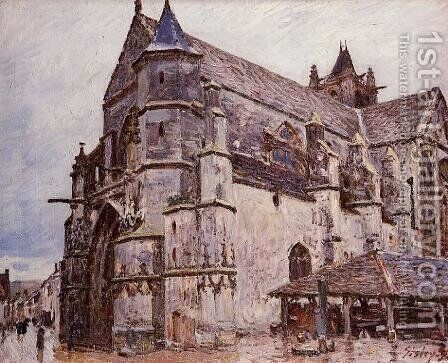 The Church at Moret, Rainy Weather, Morning by Alfred Sisley - Reproduction Oil Painting