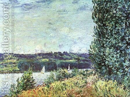 Banks of the Seine, Wind Blowing by Alfred Sisley - Reproduction Oil Painting