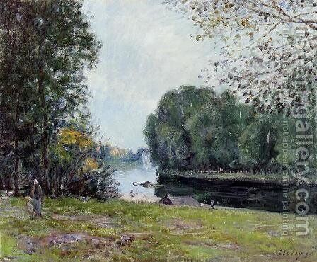 A Turn of the River Loing, Summer by Alfred Sisley - Reproduction Oil Painting