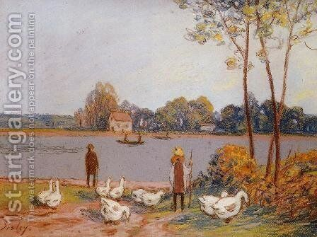 By the River Loing by Alfred Sisley - Reproduction Oil Painting