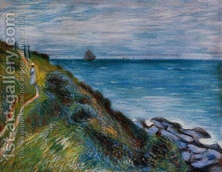 On the Cliffs, Langland Bay, Wales by Alfred Sisley - Reproduction Oil Painting