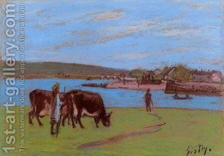 Pasture by the Seine by Alfred Sisley - Reproduction Oil Painting