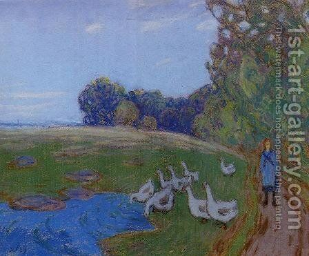 Goose Girl by Alfred Sisley - Reproduction Oil Painting