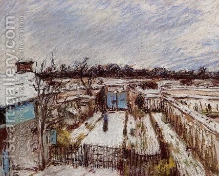The Garden under the Snow by Alfred Sisley - Reproduction Oil Painting