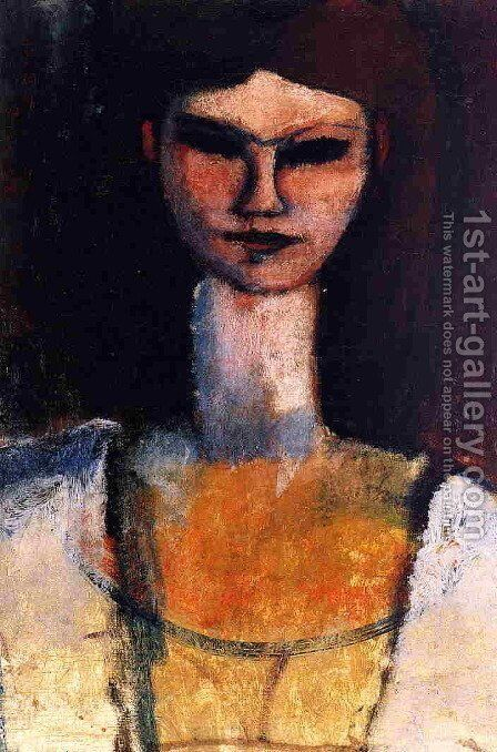 Bust of a Young Woman by Amedeo Modigliani - Reproduction Oil Painting