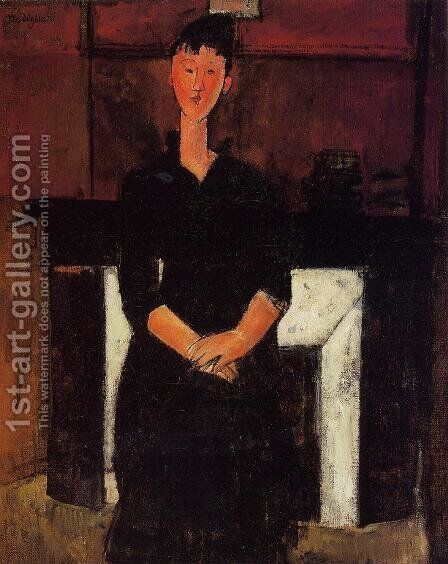 Woman Seated in front of a Fireplace by Amedeo Modigliani - Reproduction Oil Painting