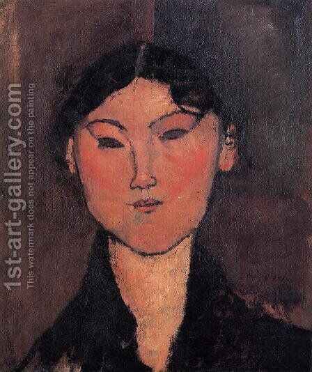 Woman's Head by Amedeo Modigliani - Reproduction Oil Painting