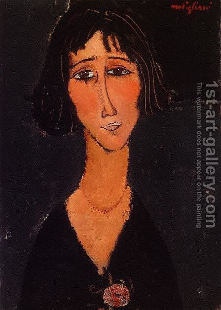 Young Girl Wearing a Rose by Amedeo Modigliani - Reproduction Oil Painting