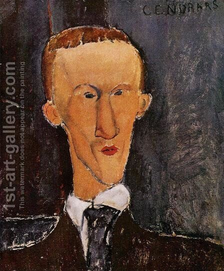 Portrait of Blaise Cendrars by Amedeo Modigliani - Reproduction Oil Painting