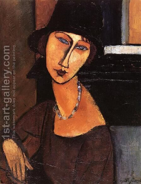 Jeanne Hebuterne with Hat and Necklace by Amedeo Modigliani - Reproduction Oil Painting
