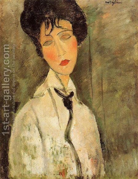 Portrait of a Woman in a Black Tie by Amedeo Modigliani - Reproduction Oil Painting