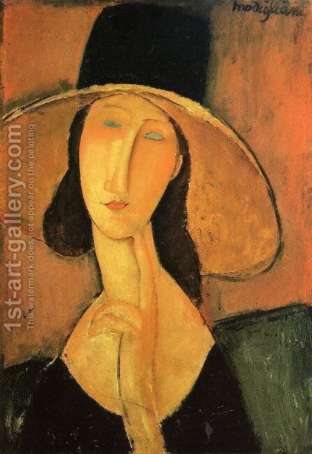 Portrait of a Woman with Hat by Amedeo Modigliani - Reproduction Oil Painting