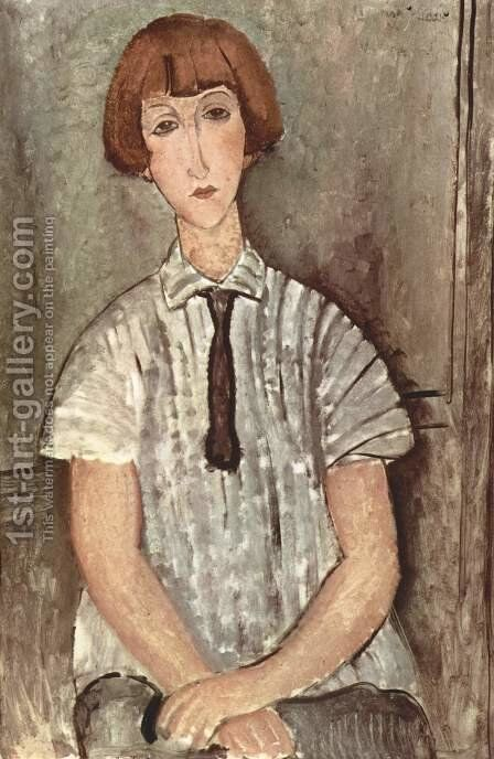 Young Girl in a Striped Blouse by Amedeo Modigliani - Reproduction Oil Painting