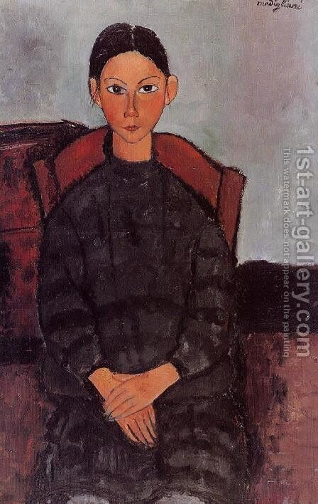 Young Girl in a Black Apron by Amedeo Modigliani - Reproduction Oil Painting