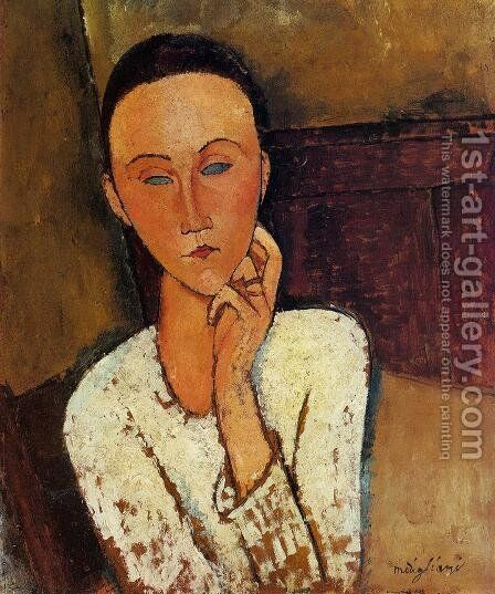 Lunia Czechowska, Left Hand on Her Cheek by Amedeo Modigliani - Reproduction Oil Painting