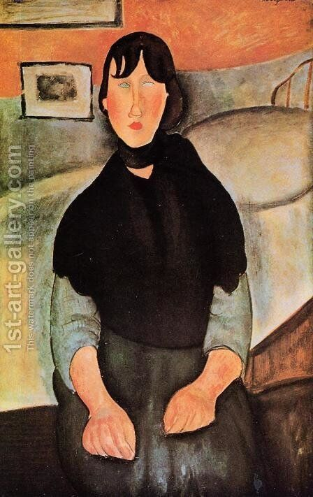 Dark Young Woman Seated by a Bed by Amedeo Modigliani - Reproduction Oil Painting