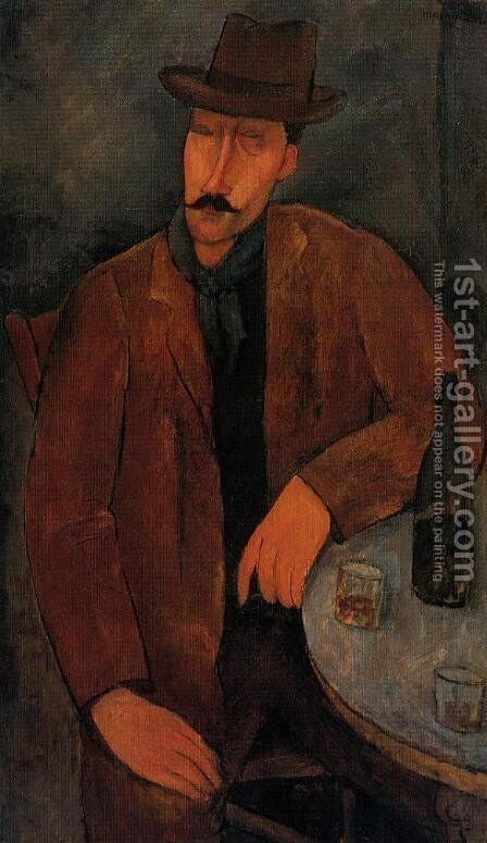 Man with a Glass of Wine by Amedeo Modigliani - Reproduction Oil Painting