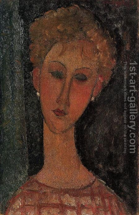 A Blond Wearing Earings by Amedeo Modigliani - Reproduction Oil Painting