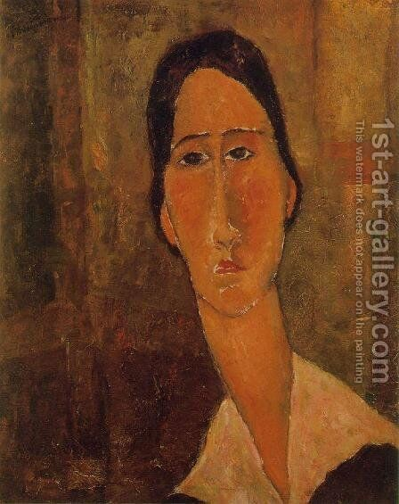Jeanne Hebuterne with White Collar by Amedeo Modigliani - Reproduction Oil Painting