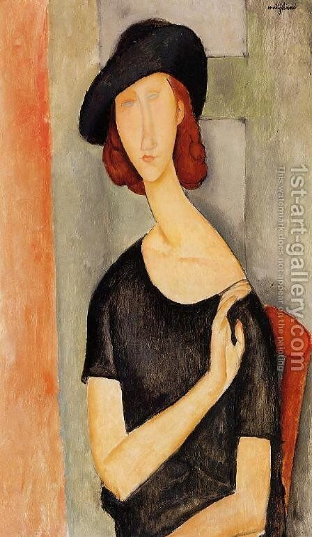Jeanne Hebuterne in a Hat by Amedeo Modigliani - Reproduction Oil Painting