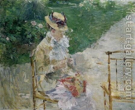 Young Woman Sewing in the Garden by Berthe Morisot - Reproduction Oil Painting