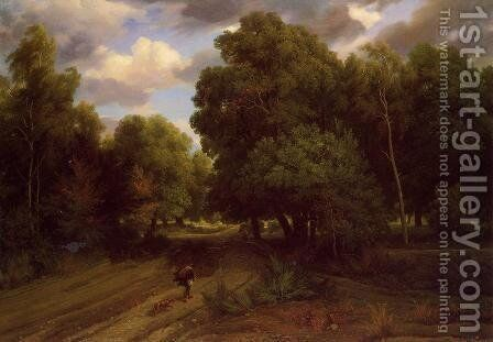 The Crossroads at the Eagle's Nest, Forest of Fontainebleau by Charles-Francois Daubigny - Reproduction Oil Painting