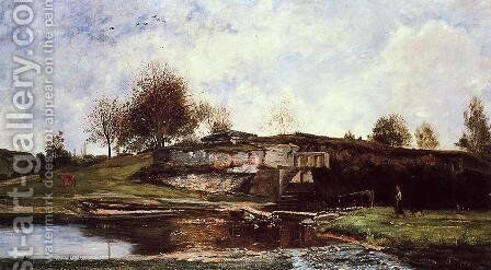 Sluice in the Optevoz Valley by Charles-Francois Daubigny - Reproduction Oil Painting