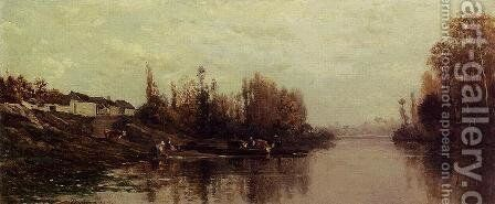 Ferry at Glouton by Charles-Francois Daubigny - Reproduction Oil Painting