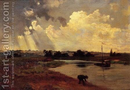 The Banks of the River by Charles-Francois Daubigny - Reproduction Oil Painting