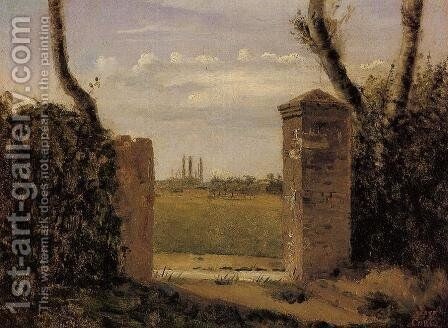 Boid-Guillaumi, near Rouen - A Gate Flanked by Two Posts by Jean-Baptiste-Camille Corot - Reproduction Oil Painting