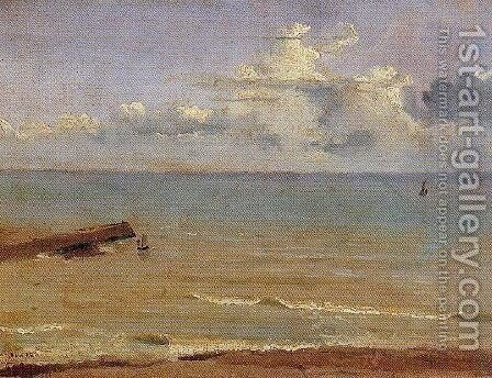 Dieppe - End of a Pier and the Sea by Jean-Baptiste-Camille Corot - Reproduction Oil Painting