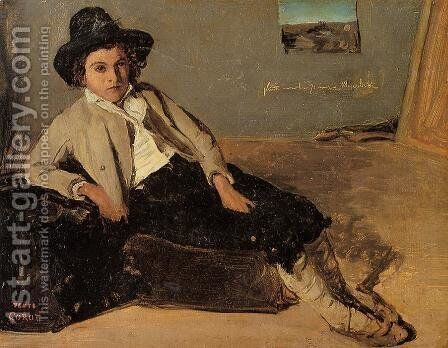 Italian Youth Sitting in Corot's Room in Room by Jean-Baptiste-Camille Corot - Reproduction Oil Painting