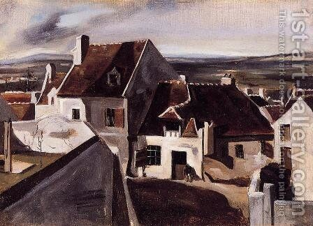 The Inn at Montigny-les-Cormeilles by Jean-Baptiste-Camille Corot - Reproduction Oil Painting