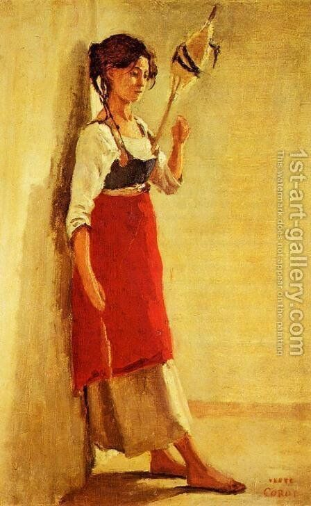 Young Italian Woman from Papigno with Her Spindle by Jean-Baptiste-Camille Corot - Reproduction Oil Painting