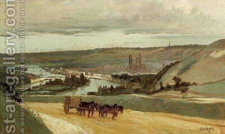 Rouen Seen from Hills Overlooking the City by Jean-Baptiste-Camille Corot - Reproduction Oil Painting
