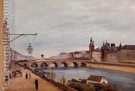 The Pont-au-Change and the Palais de Justice by Jean-Baptiste-Camille Corot - Reproduction Oil Painting