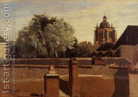 Orleans - View from a Window Overlooking the Saint-Peterne Tower by Jean-Baptiste-Camille Corot - Reproduction Oil Painting