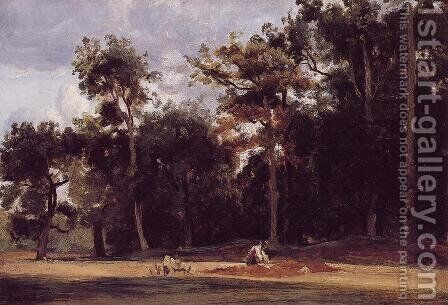 The Paver of the Chailly Road by Jean-Baptiste-Camille Corot - Reproduction Oil Painting