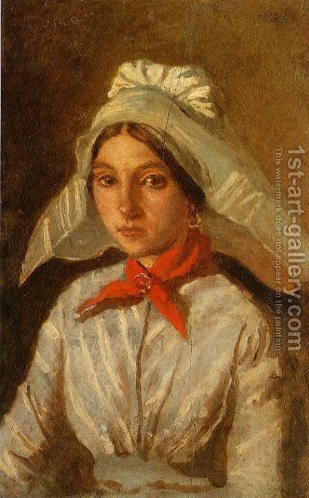 Young Girl with a Large Cap on Her Head by Jean-Baptiste-Camille Corot - Reproduction Oil Painting