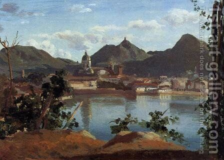 The Town and Lake Como by Jean-Baptiste-Camille Corot - Reproduction Oil Painting