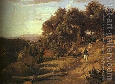 A View near Colterra by Jean-Baptiste-Camille Corot - Reproduction Oil Painting