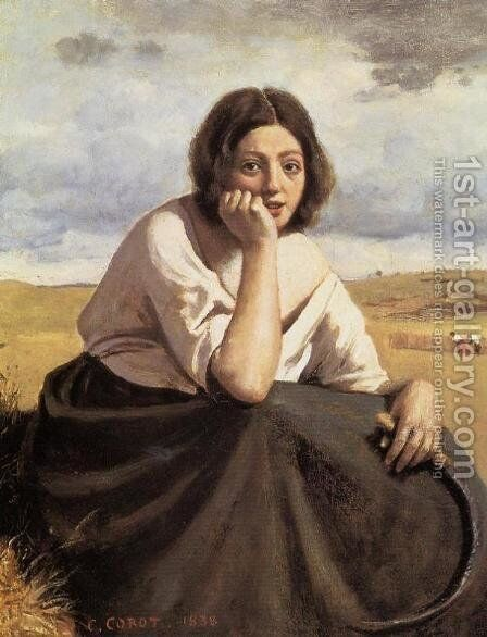 Harvester Holding Her Sickle by Jean-Baptiste-Camille Corot - Reproduction Oil Painting