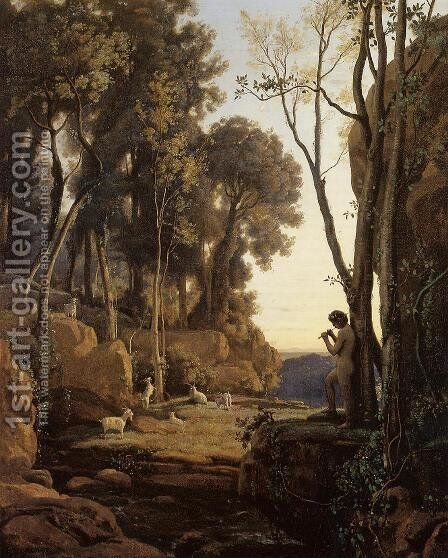 Landscape,Setting Sun by Jean-Baptiste-Camille Corot - Reproduction Oil Painting