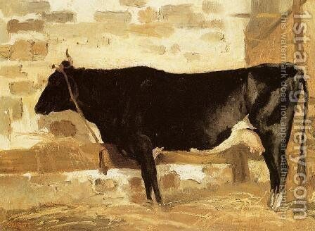 Cow in a Stable by Jean-Baptiste-Camille Corot - Reproduction Oil Painting