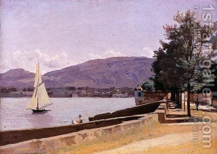 Le Quai des Paquis, Geneva by Jean-Baptiste-Camille Corot - Reproduction Oil Painting